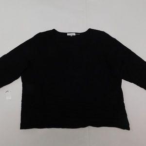 Calvin Klein 1X Black Crewneck Sweater Top  Rayon
